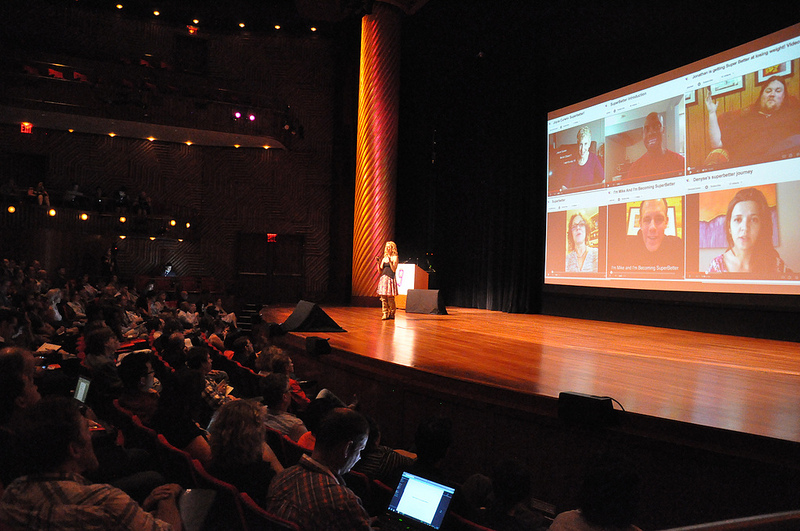 Jane McGonigal speaks at the Game for Change Festival in 2010.