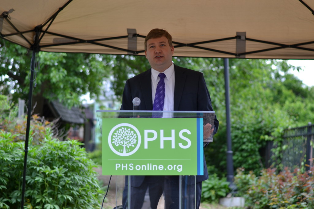 Brian Abernathy, Executive Director of the Philadelphia Redevelopment Authority speaks at the Neighborhood Gardens Trust Media Day.